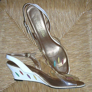 Vintage Magdesians Leather Slingback Shoes Wedges